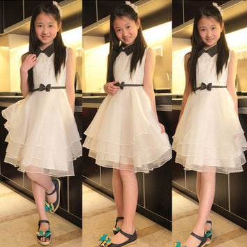 Teenage Girls Dresses 2016 for Party and Wedding Dress Summer Sleeveless White Layered Dress for Teens Girls Elegant Lace Dress