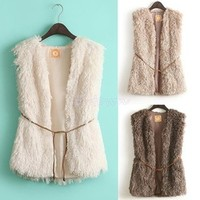 Wholesales 2014 New Fashion Winter Sleeveless Warm Women Faux Fur Vest Fur Coat Jacket Waistcoat Coat With BeltSV03 CB 029092
