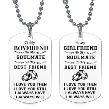 1Pcs Couple Necklace Jewelry My Soulmate I Love You Dog Tag Necklaces For Women Good Gift For Boyfriend Girlfriend Husband Wife