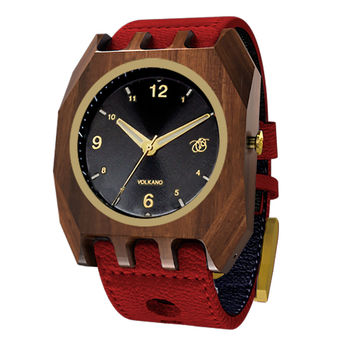 Mistura Volkano Unisex Watch Classic Black Dial Red Leather Band