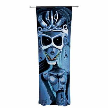 "Ivan joh ""Tattoo Girl"" Black Blue Pop Art Fantasy Illustration Painting Decorative Sheer Curtain"