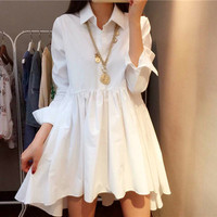 Fashion lapel waist dress
