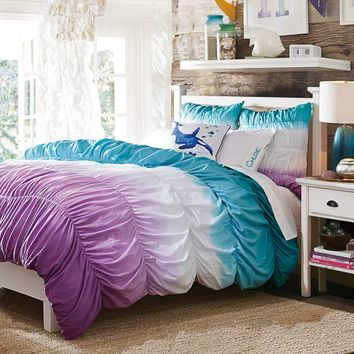 Surf Dip Dye Ruched Duvet Cover + Sham, Pool/ Purple