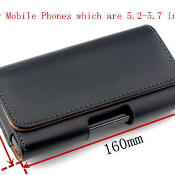 "Genuine Leather Case for iPhone 6 Plus Samsung Xiaomi Redmi Note 3 Belt Clip Holster For 5.2""-5.7"" Mobile Phone Pouch Cover <"