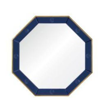 Octavia Blue & Brass Mirror by Bunny Williams