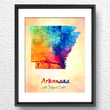 Arkansas Map USA, Watercolor Print, Art Print, Wall Art Poster, Wall Decor, Art Home Decor, Wall Hanging Item 110
