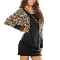 Allegra K Fall Winter Women Leopard Prints Stud Decor Batwing Dress