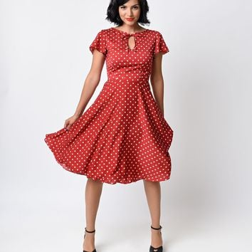 1940s Style Red & Ivory Dot Formosa Swing Dress-LAST ONE SALE