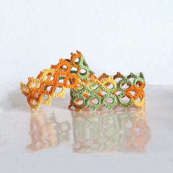 Autumn Decor - Lace Napkin Rings in Tatting - Marie - Set of Two