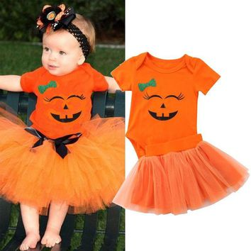 Baby Girl Clothes Halloween Outfits Infant 2PCS Clothing Sets Romper+Tutu Skirt Newborn Baby Suits Pumpkin Newborn Clothes
