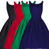 Women Fashion Sleeveless O-Neck Casual Business Evening Party Vintage Ball Gown Dress