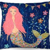 Decorative Woven Couch Throw Pillow from DiaNoche Designs by Sascalia Home Unique Bedroom, Living Room and Bathroom Ideas Pink Mermaid