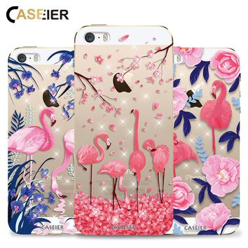CASEIER Phone Case For iPhone 6 6s Plus Flamingo Rhinestone Glitter Soft TPU Silicone Cover For iPhone 5 5s SE Funda Capinha