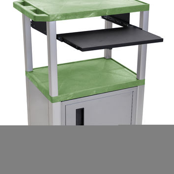 H.Wilson Multimedia Mobile Multipurpose Presentation AV Cart Lockable Storage Cabinet Table Nickel Pull Out Tray Green