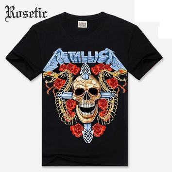 Skull Skulls Halloween Fall Rosetic Gothic Loose Men T-Shirt  Rose Cross Snake Letter Print Cotton Casual Goth Summer Fashion Cool Boy Darkness T-Shirt Calavera