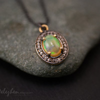 Ethiopian Opal Necklace -  Pave Diamond Necklace - October Birthstone - Black Oxidized