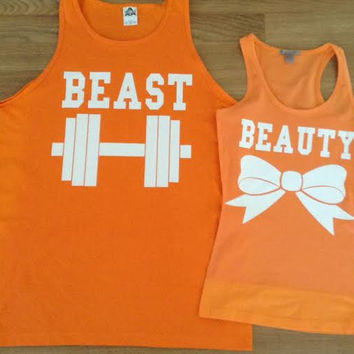 Free/Fast Shipping for US Beauty And The Beast  Matching Couple Shirts( Orange)