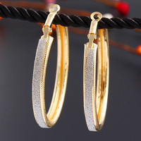 2015 Big Promotion Big Star Vintage Scrub Round Earring Trendy Statement Gold Silver Plated Earrings