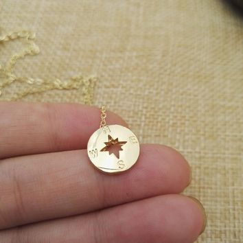 Gold And Silver Nautical Compass Necklace