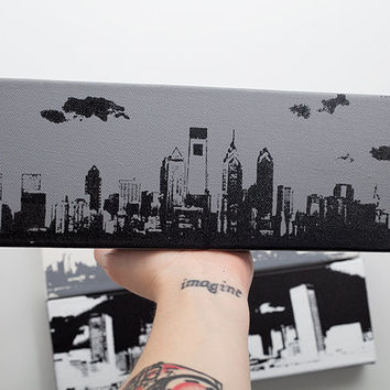 Philadelphia Skyline II Canvas (Gray w/ Black) Screenprint/Painting, Philadelphia Wall Art