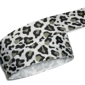 "Snow leopard print 1"" grosgrain ribbon"