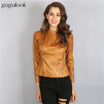 Gagalook 2016 Autumn Faux Suede Bomber Jacket Women Basic Coats Fashion Faux Leather Jacket Chaquetas Mujer C0823