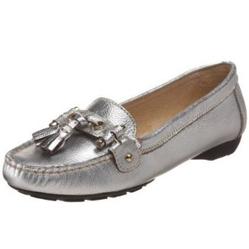 Amiana Women`s 15/A0609 Slip-On Loafer,Silver,40 EU (US Women`s 10 M US)