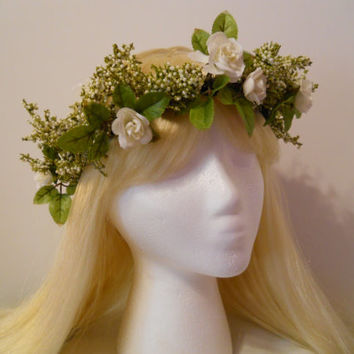 Flower Crown, Head Wreath, Weddings, White, Flower Girl, Bridal, Babies Breath, Rose, Hair Accessories, Flower Tiara, Woodland, Fairy, Green