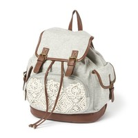 Burlington Jersey Backpack with Crocheted Lace Trim  | Icing