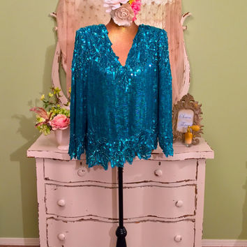 Turquoise Sequin Top, Trophy Party Top, Long Sleeve V Neck, Elegant Beaded Blouse, Special Occasion, Vintage Clothing, Evening Attire, Large