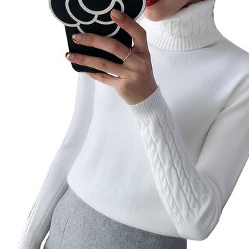 Thick Warm Women Turtleneck Sweater 2018 Autumn Winter Knit Women Sweaters And Pullover Female Tricot Jumper Pull Femme Pullover