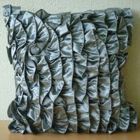 Vintage Silver  Throw Pillow Covers  16x16 by TheHomeCentric