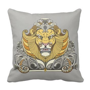 head of lion throw pillow