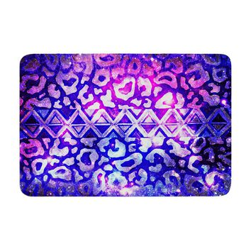 "Ebi Emporium ""Tribal Leopard Galaxy"" Purple Blue Painting Memory Foam Bath Mat"