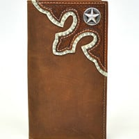 Nocona Rodeo Genuine Leather Western Men's Wallet w/ Star Concho-Brown N5462844