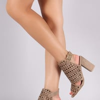 Qupid Perforated Mule Chunky Heel
