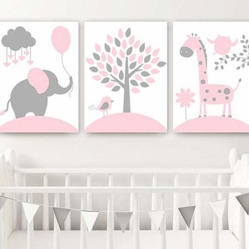 PINK GRAY Nursery Decor Canvas or Print Baby Girl Jungle Safari Nursery Wall Art, Girl Elephant Giraffe Tree Pictures, Set of 3 Artwork