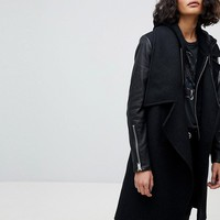 AllSaints Waterfall Coat with Leather Sleeves at asos.com
