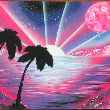 pink beach spray paint art,palm trees art,girls room decor,kids room decor,home,ocean poster,colorful decor,beach wall art,birthday gift