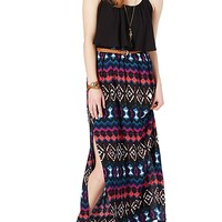 Abstract Belted Maxi Dress