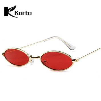 90s Oval Sunglasses Small Round For Women 2018 Rihanna Fashion Tinted Red Men Glasses Ladies Vintage Eyeglasses Yellow Eyewear