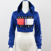 GS112 Womens Fashion Letter Print Cropped Sweatshirt Hoodied Sexy Pullover Jumper 2016 New Spring Summer
