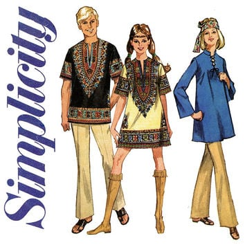 1960s Dashiki Shirt Pattern Bust 36 Simplicity 8177 African Clothing Bell Sleeve Kurtis Tunics Laced Neckline Womens Vintage Sewing Patterns