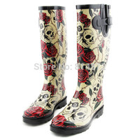 New Rose Skull Women Rain Boots,Rubber Boots Rose Skeleton Head Sexy Cool Sapatos,Rainboots Botas Femininas