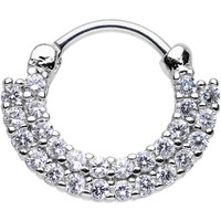 """16 Gauge 3/8"""" Clear CZ Double Row of Glamour Septum Clicker 