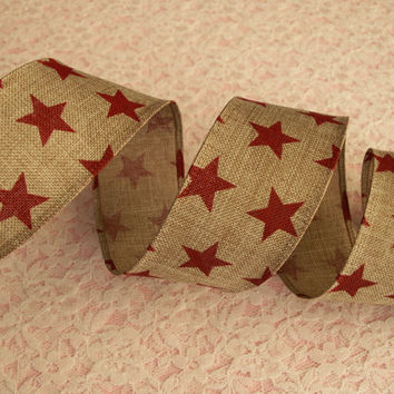 "5 YARDS, Tan & Red Ribbon, Stars Ribbon,wired edge, 1 1/2"" wide, Rustic Ribbon Decorations, Bows, Baskets, Wreaths, Door Hangers, Home Decor"