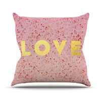 "Leah Flores ""Love Roses"" Pink Flowers Throw Pillow"