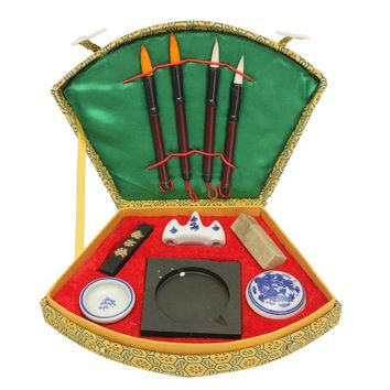Chinese Calligraphy Set with Writing Pen Brushes Ink Inkstone Stamp Tool Box Set Painting Brushes Set For Artist Student Gifts