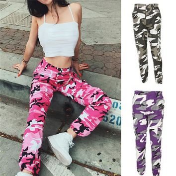 Fashion Women Camouflage Pant High Waist Hiphop Pink Camo Pant With Pockets Girls Military Pant Jogger Dance Pant