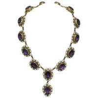 Amethyst Yellow Gold Filigree Necklace